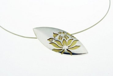 Protea Pendant - Silver and Gold